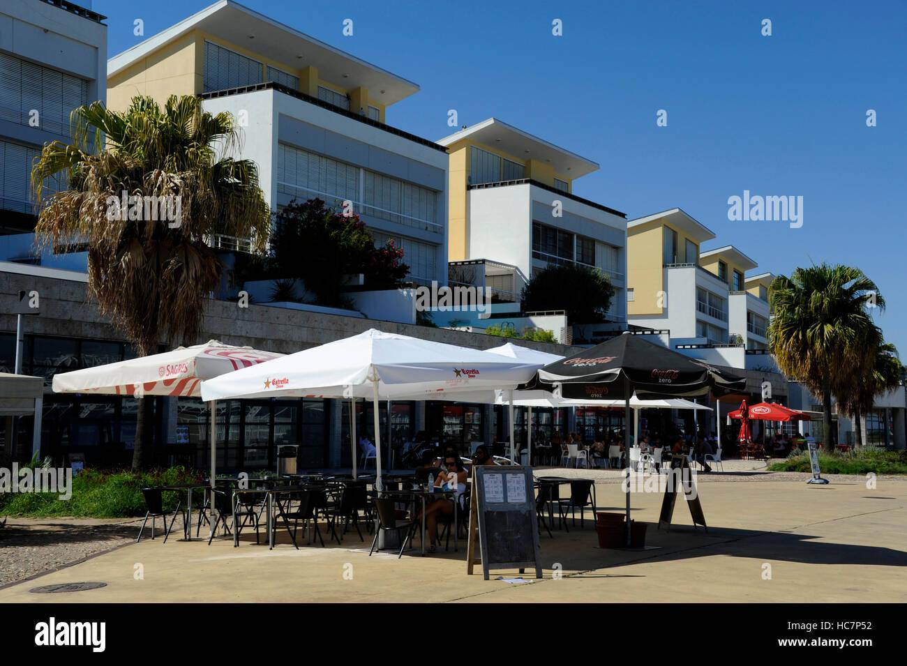 Cafe, restaurant, Passeio Neptuno, Parque das Nacoes, Nation's Park, Lisboa, Lisbon, Portugal - Stock Image