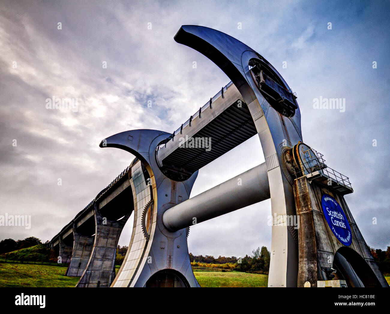 Looking up at the Falkirk Wheel - Stock Image