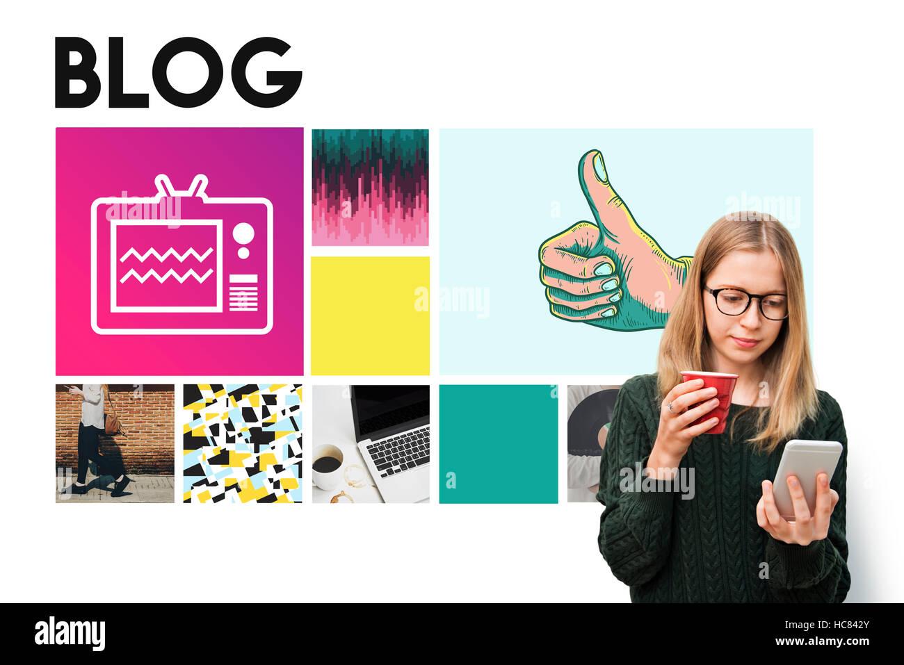 Blog Content Internet Post Site Social Story Web Concept - Stock Image
