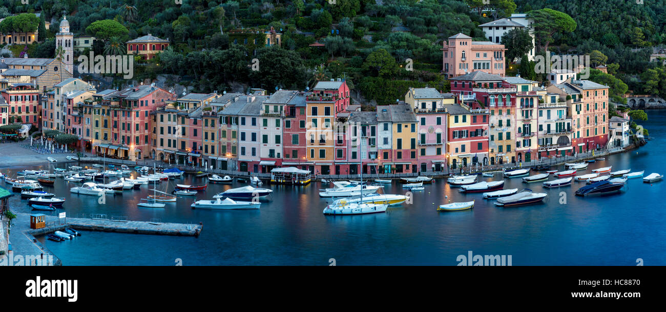 Early morning over Harbor town of Portofino, Liguria, Italy - Stock Image