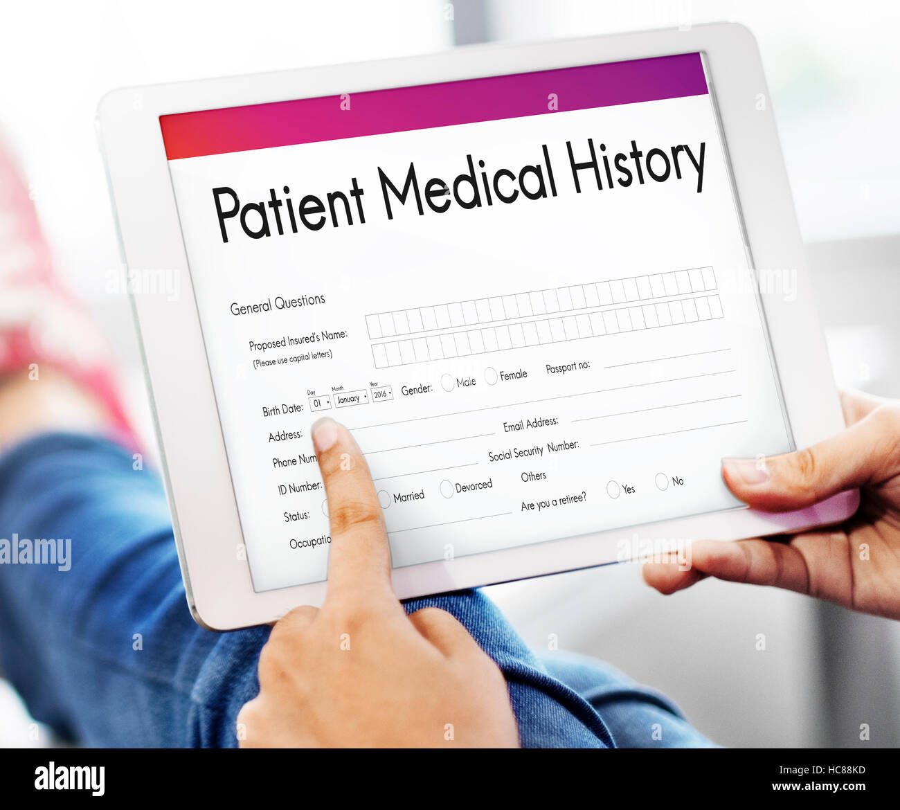 patient medical history form concept stock photo 128030881 alamy