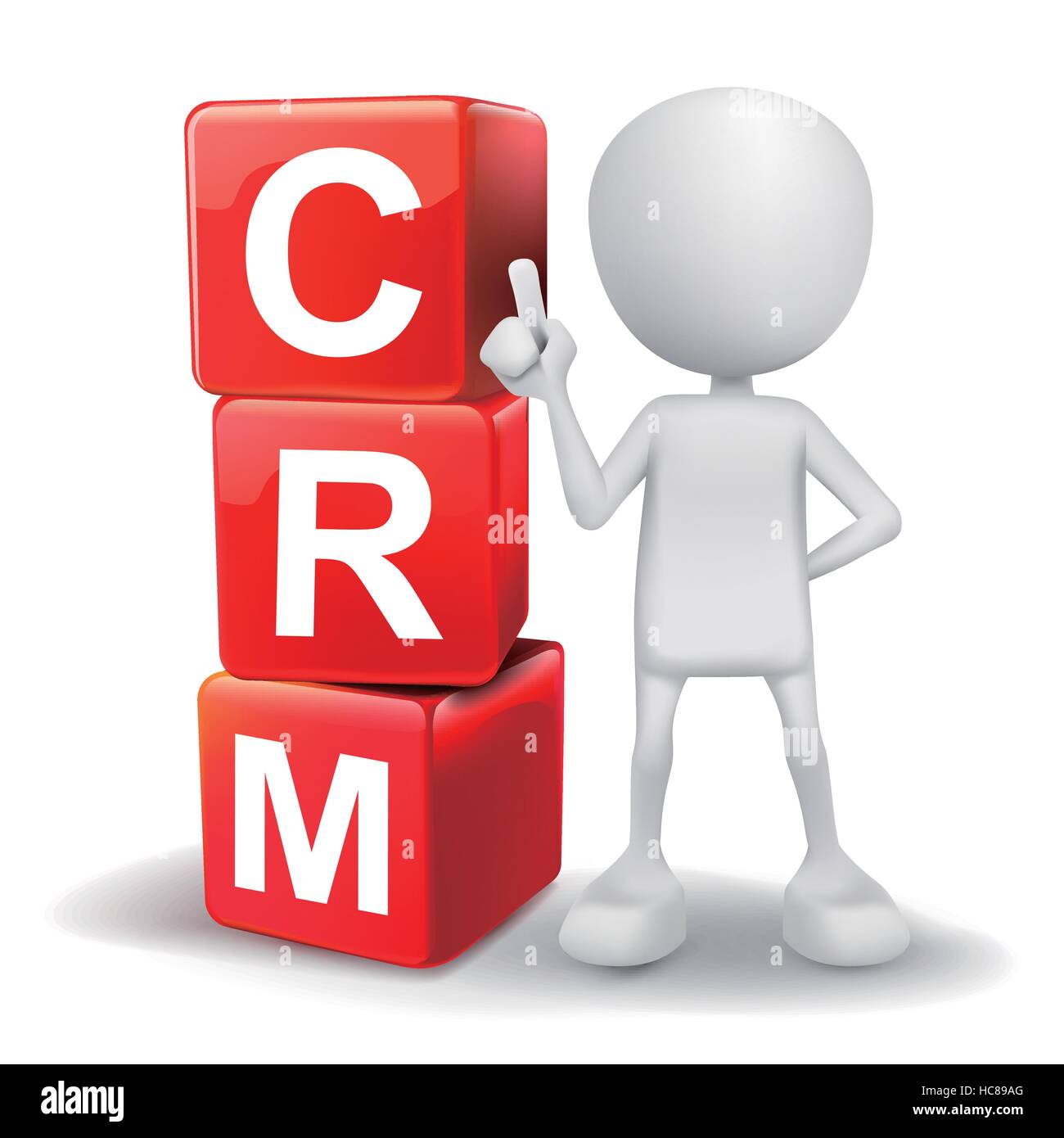 vector 3d human with word CRM Customer Relationship Management cubes on white background - Stock Image