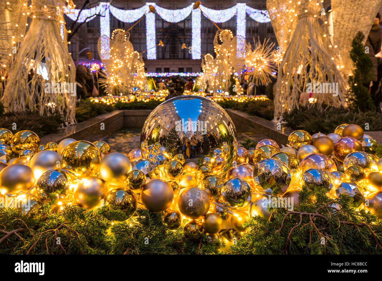 Rockefeller Center Christmas season decorations. Midtown Manhattan, New York City - Stock Image