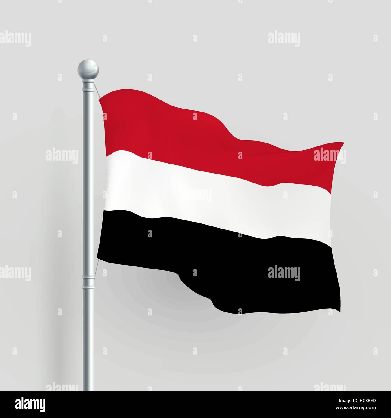 3d vector Yemen flag blowing in a breeze - Stock Vector