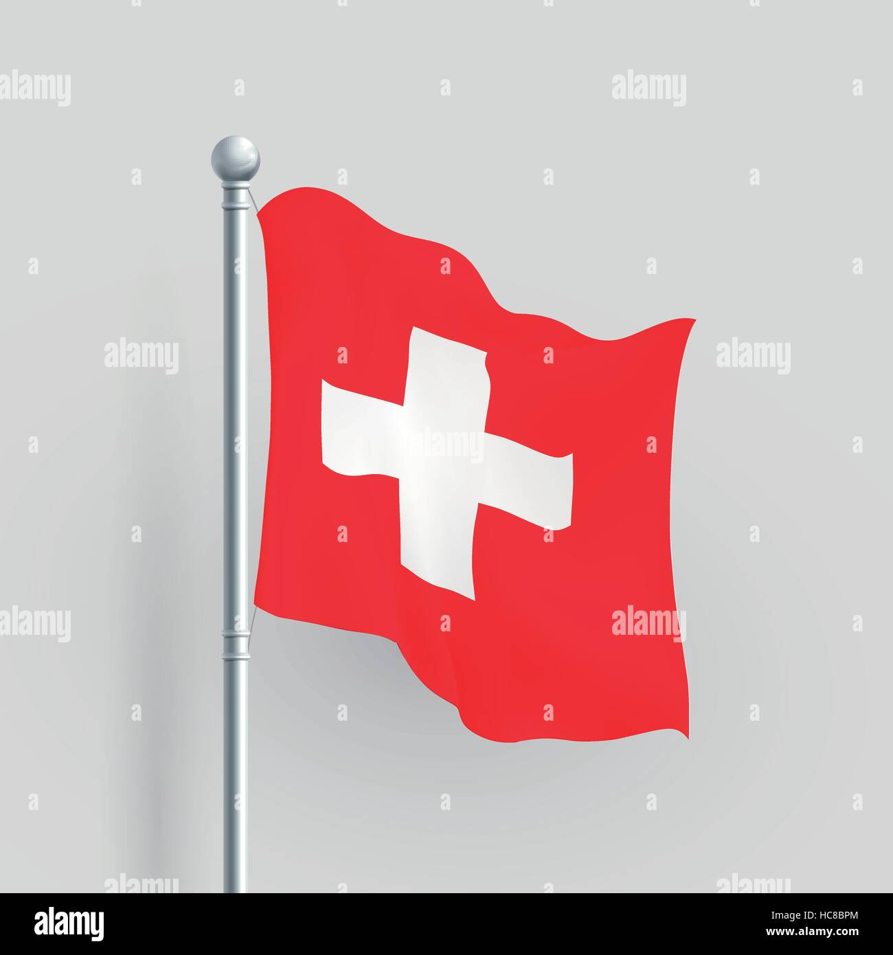 3d vector Switzerland blowing in a breeze - Stock Vector