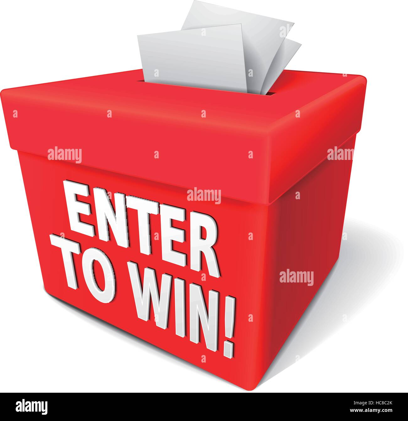 enter to win words on a red box with a slot for entering tickets or entry form to win in a lottery - Stock Vector