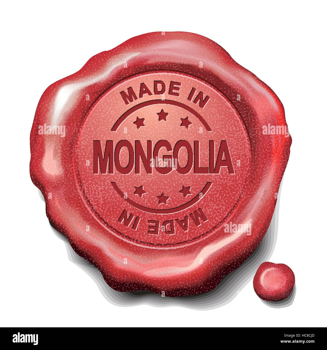 made in Mongolia red wax seal over white background - Stock Vector