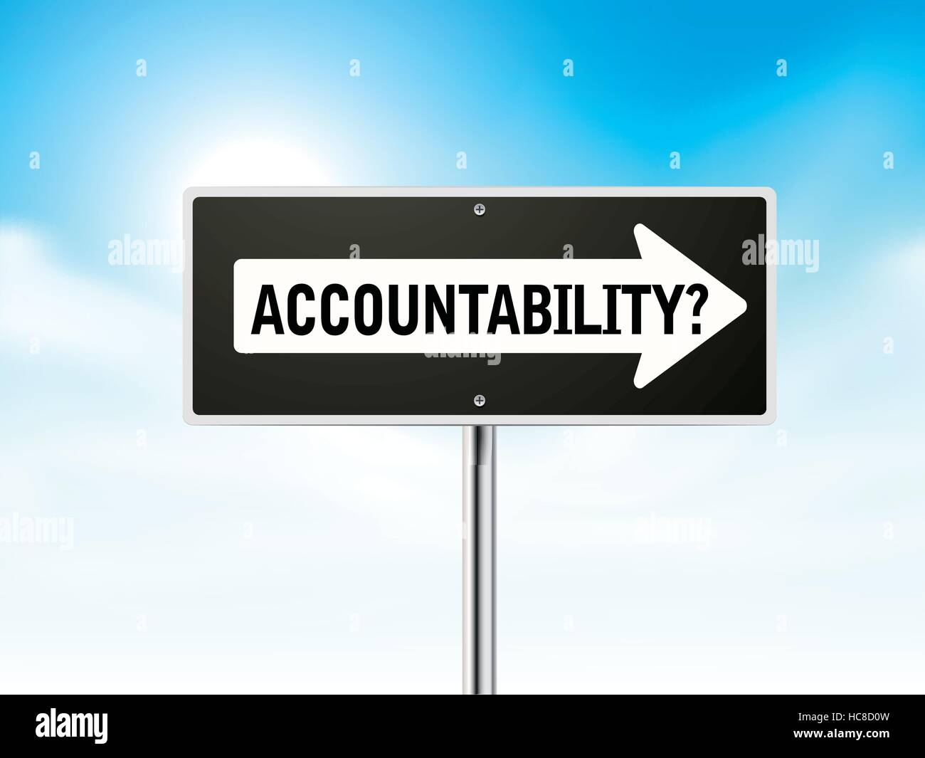 accountability on black road sign isolated over sky - Stock Image