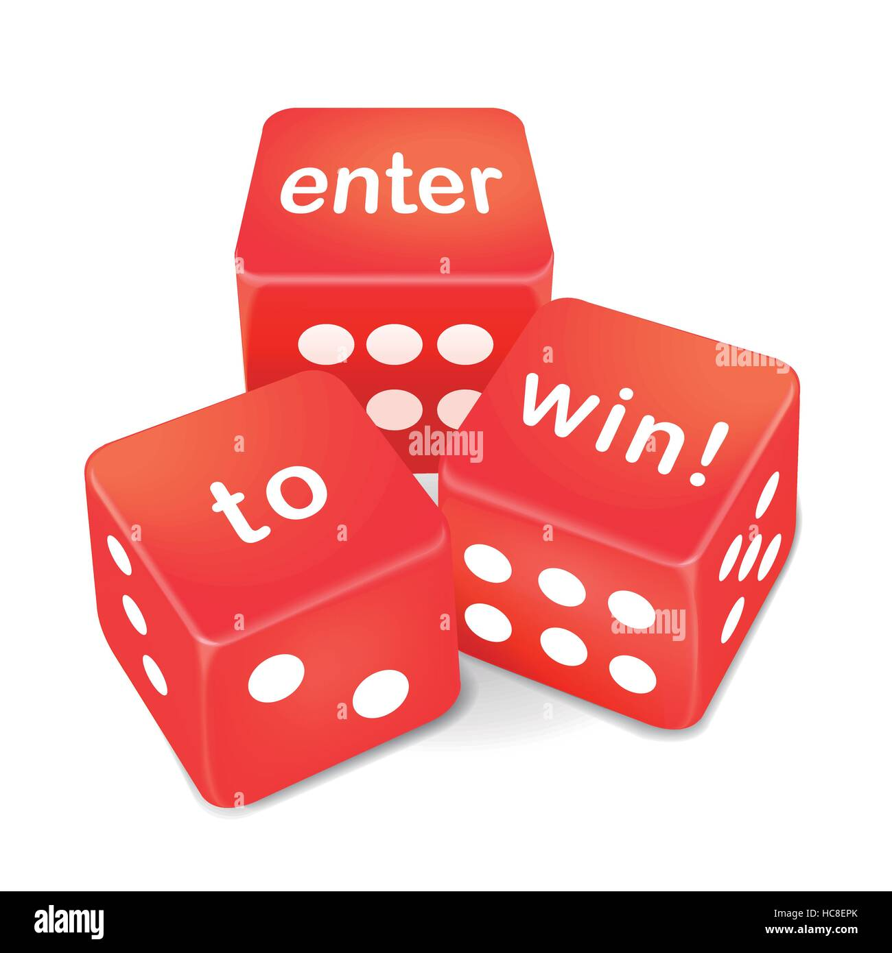 enter to win words on three red dice over white background - Stock Image