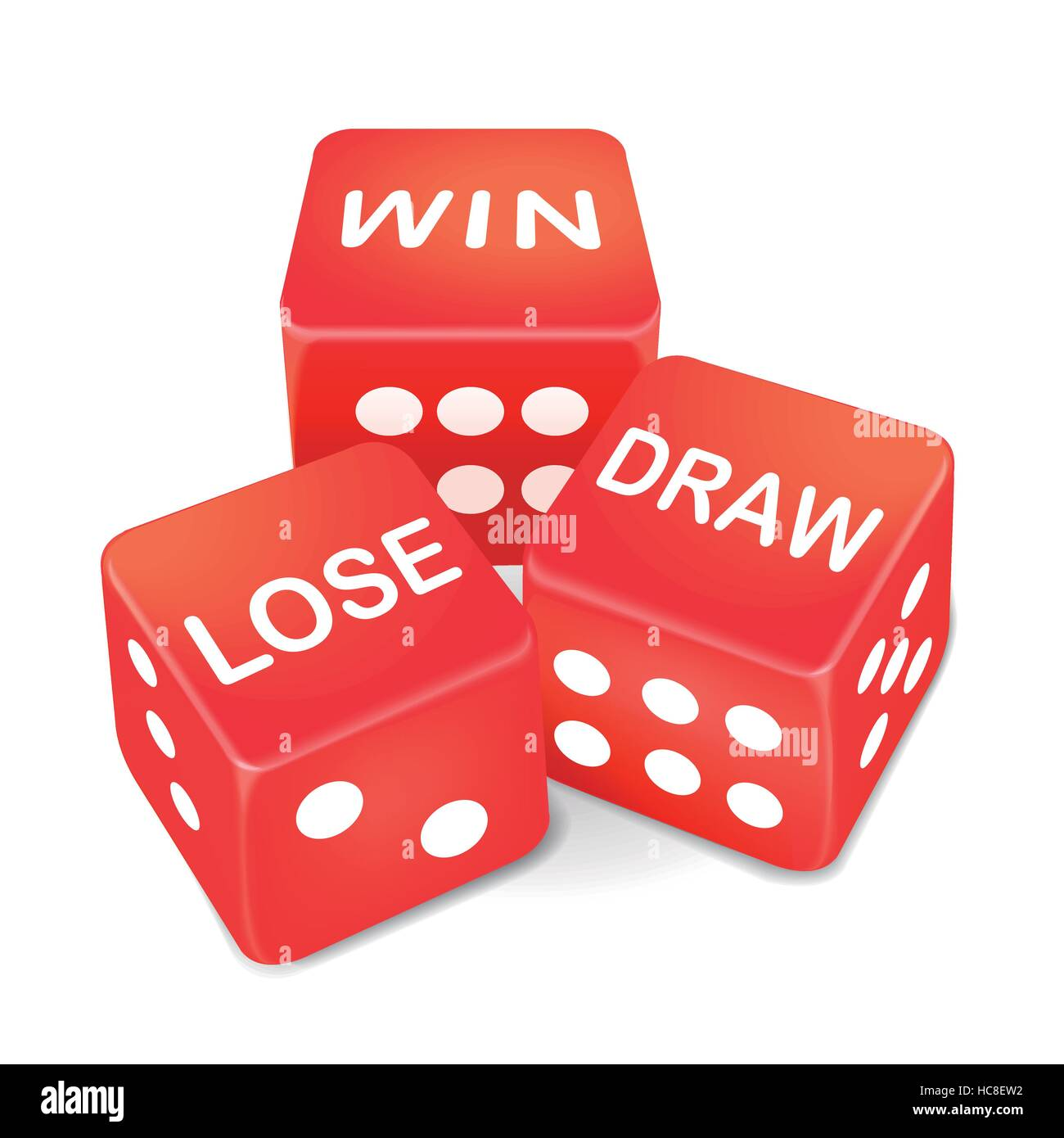 Win Lose And Draw Words On Three Red Dice Over White Background