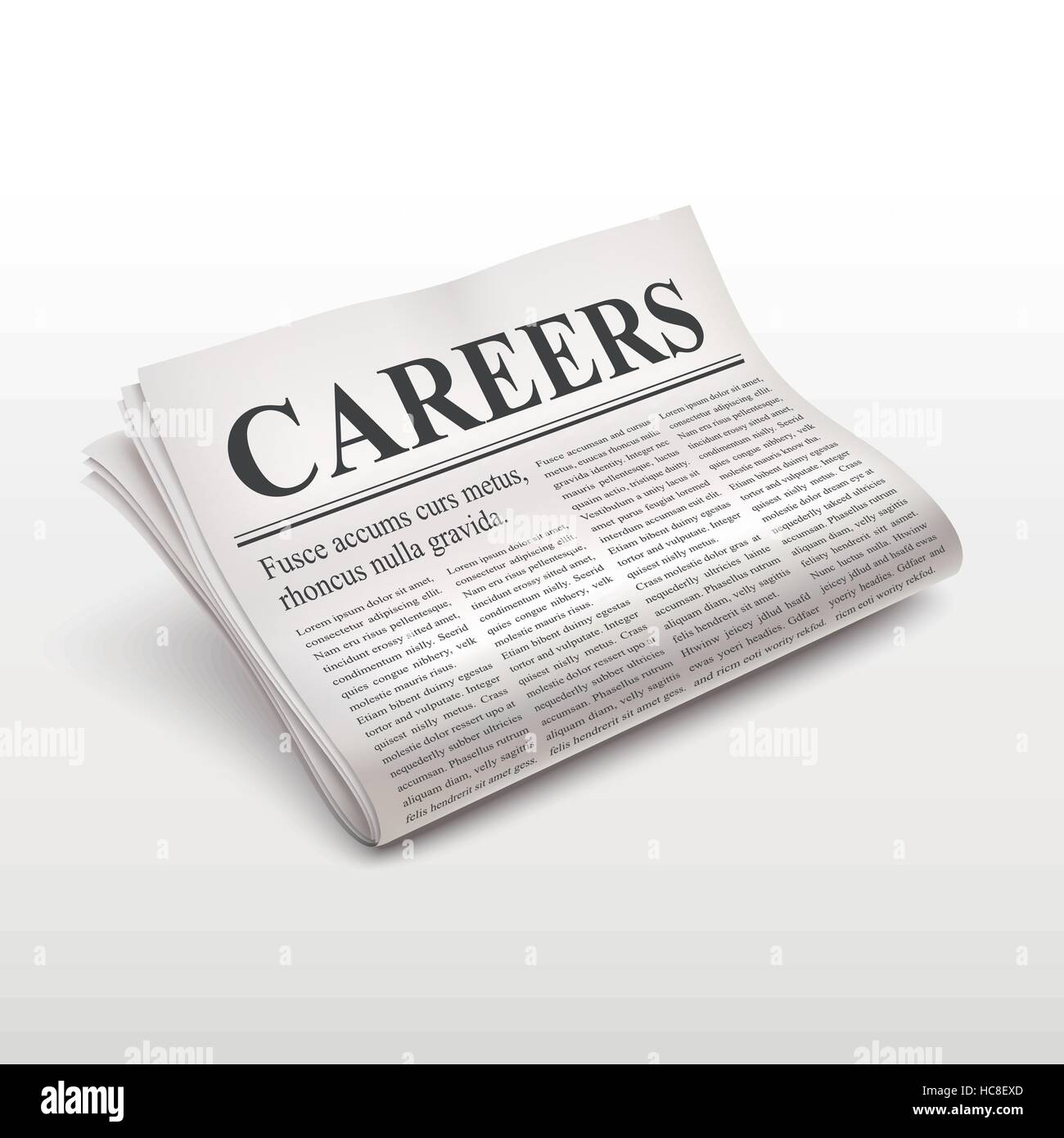 careers word on newspaper over white background - Stock Image