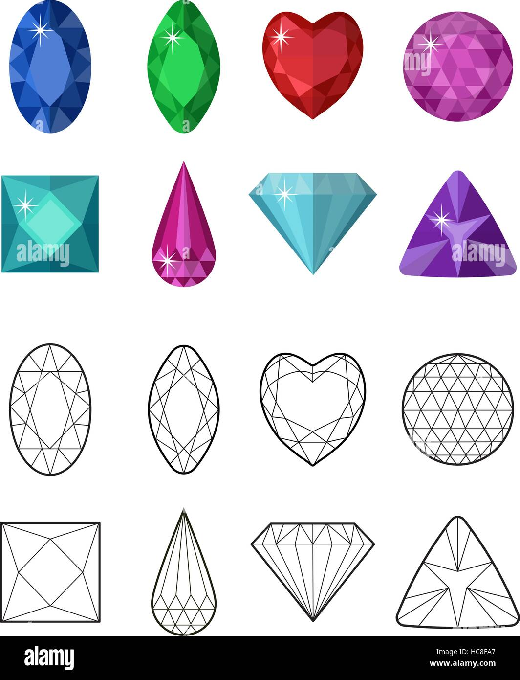 Gems and cut line set. Different facets for crystals. Jewelry collection isolated on white background. Diamonds. - Stock Image