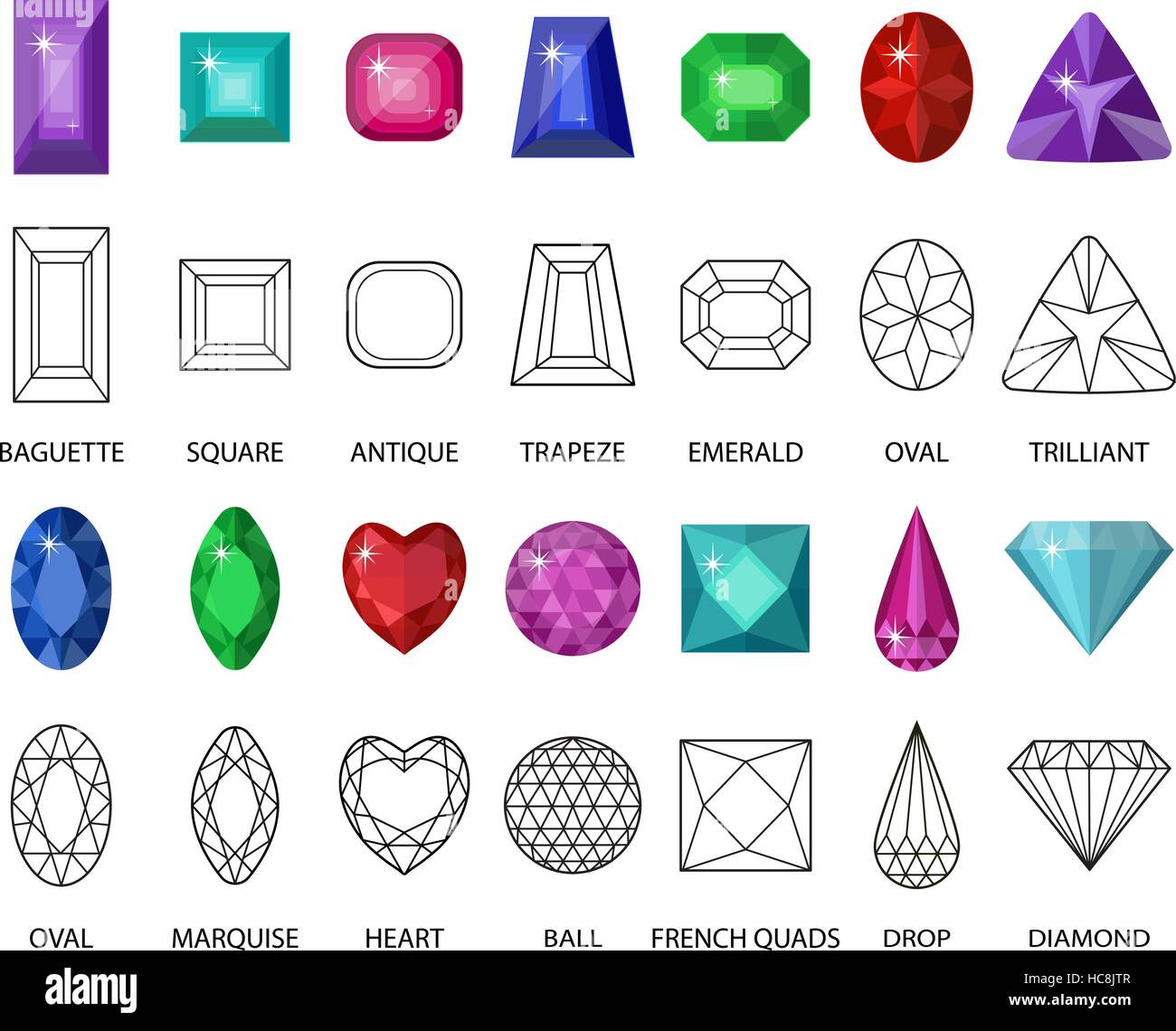 Gems and cut line set. Different facets for crystals. Jewelry collection isolated on white background. Diamonds - Stock Image
