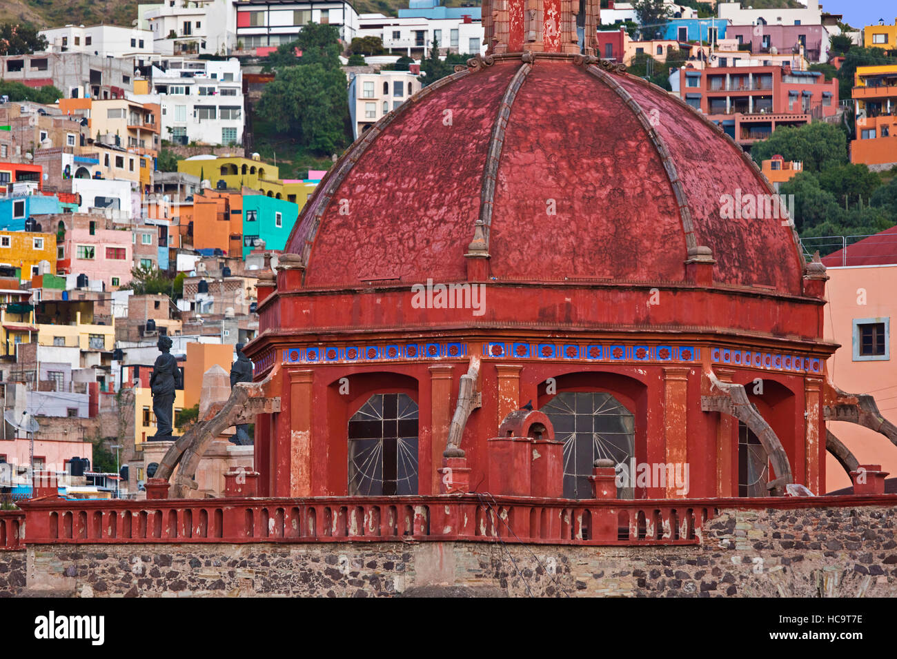 The red dome on an ancient church - GUANAJUATO, MEXICO Stock Photo