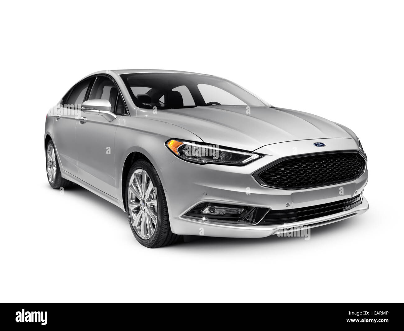 Silver 2017 Ford Fusion mid-size sedan car isolated on white background with clipping path - Stock Image