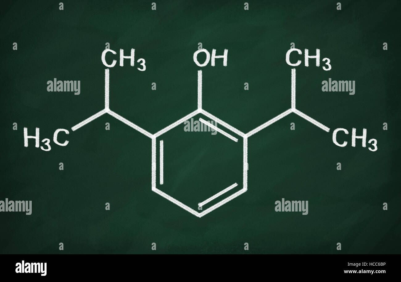 Structural model of Propofol on the blackboard. - Stock Image