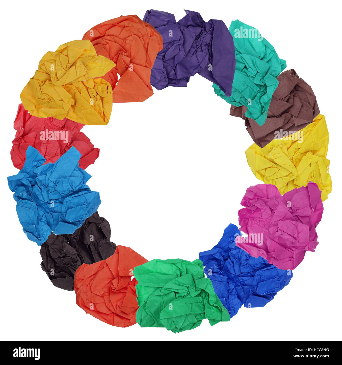 The concept of an ecological paper circle is made of the crumpled sheets of color paper. Isolated yfndmade collage - Stock Image