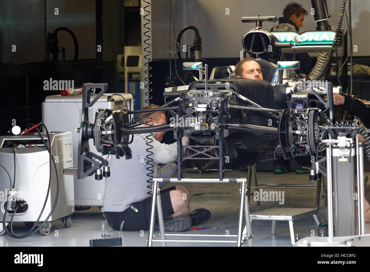 Montreal, Canada.Mercedes AMG Petronas technicians assembling Lewis Hamilton car for the Formula One Canadian Grand - Stock Image