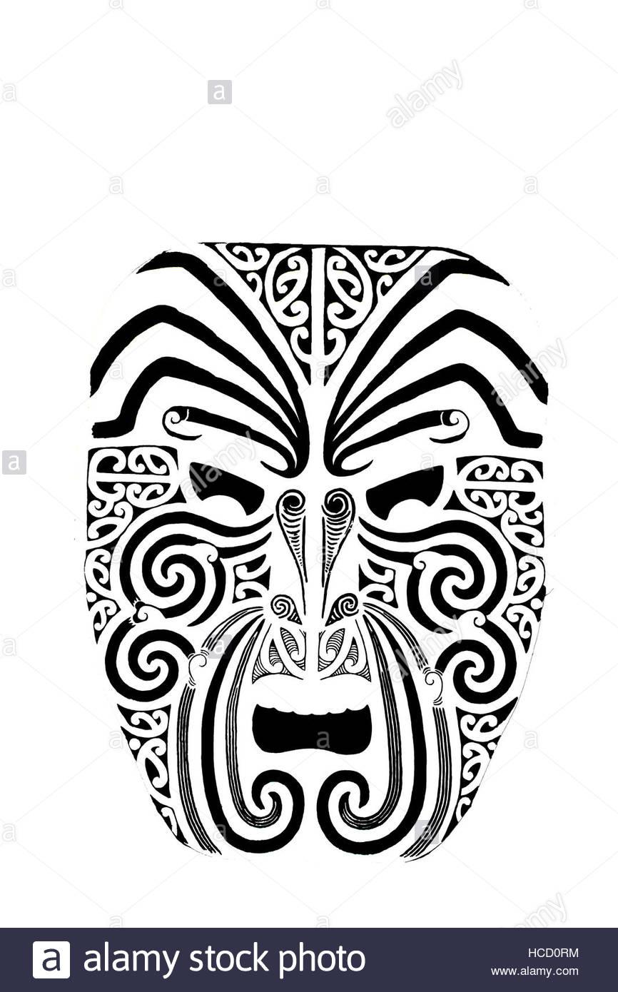 tribal mask primitive mystery - Stock Image
