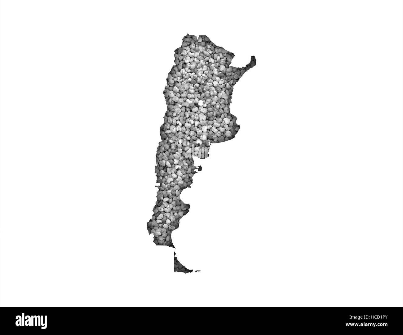 Map of Argentina on poppy seeds - Stock Image