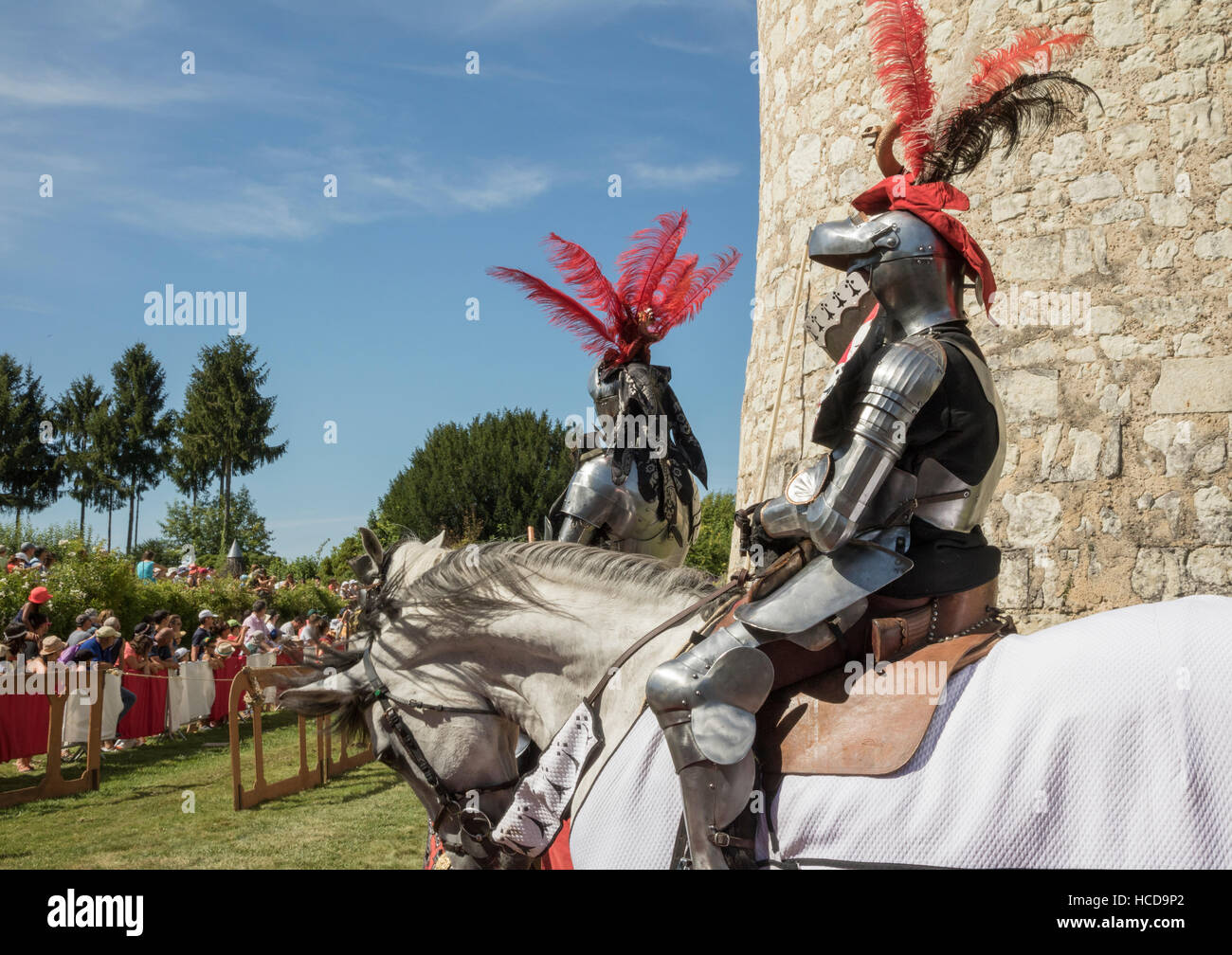 Jousting at the Chateau du Rivau, mounted knights in full armour Stock Photo