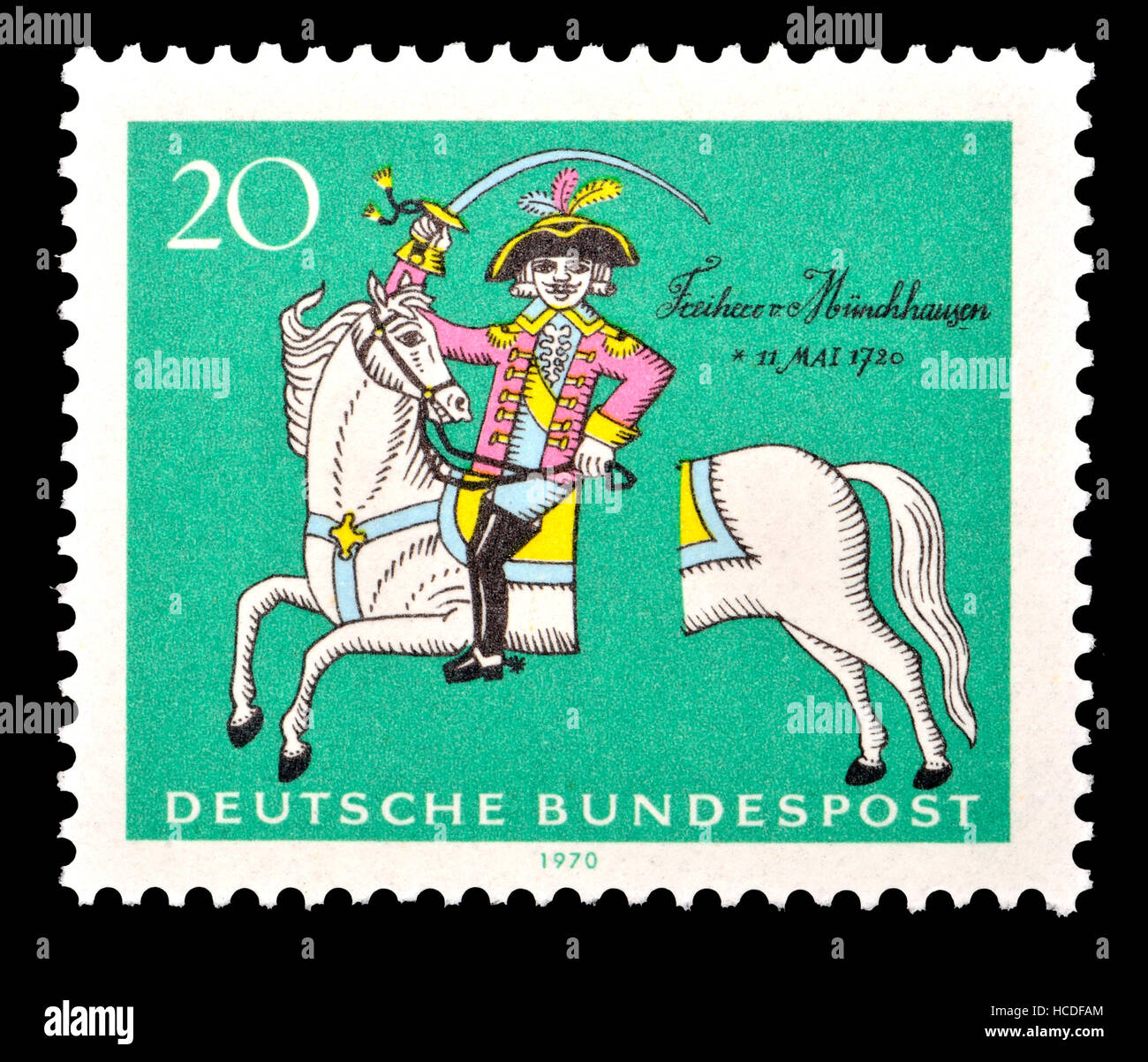 German postage stamp (1970)  : Baron Munchausen -  fictional German nobleman created by the German writer Rudolf Erich Raspe. Based on a real Baron,   Stock Photo