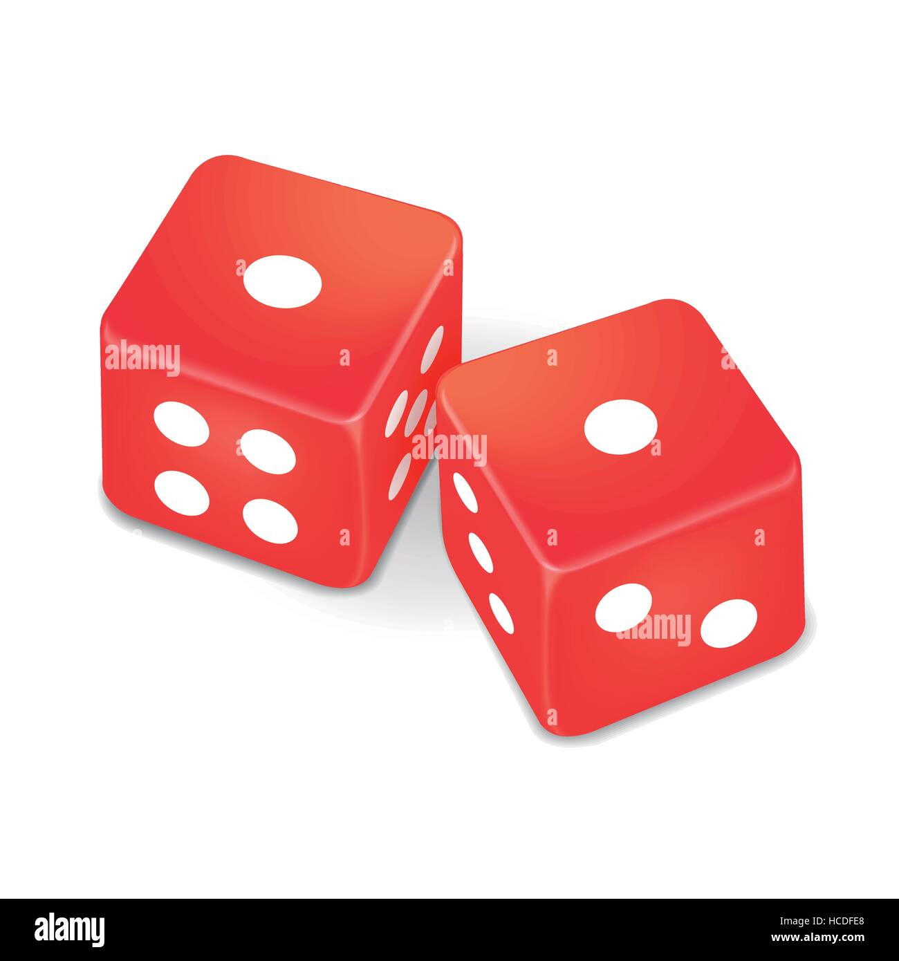 two red dice isolated on white background - Stock Image