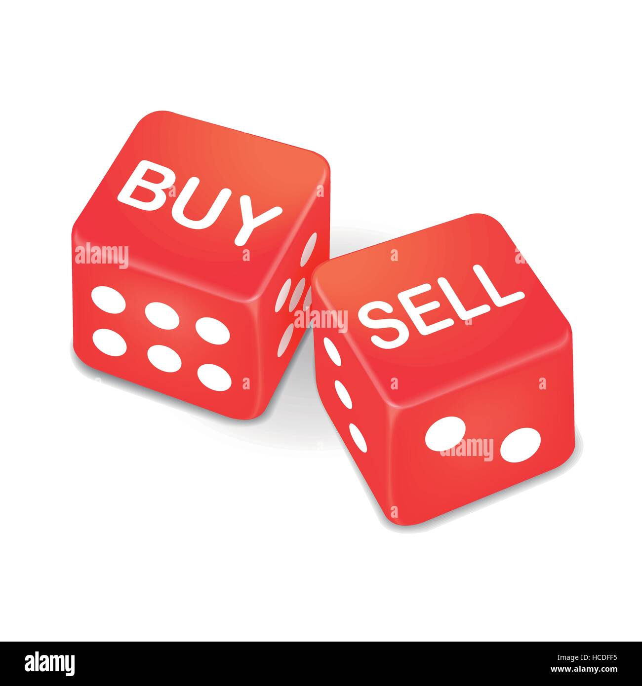 buy and sell words on two red dice isolated on white background - Stock Image