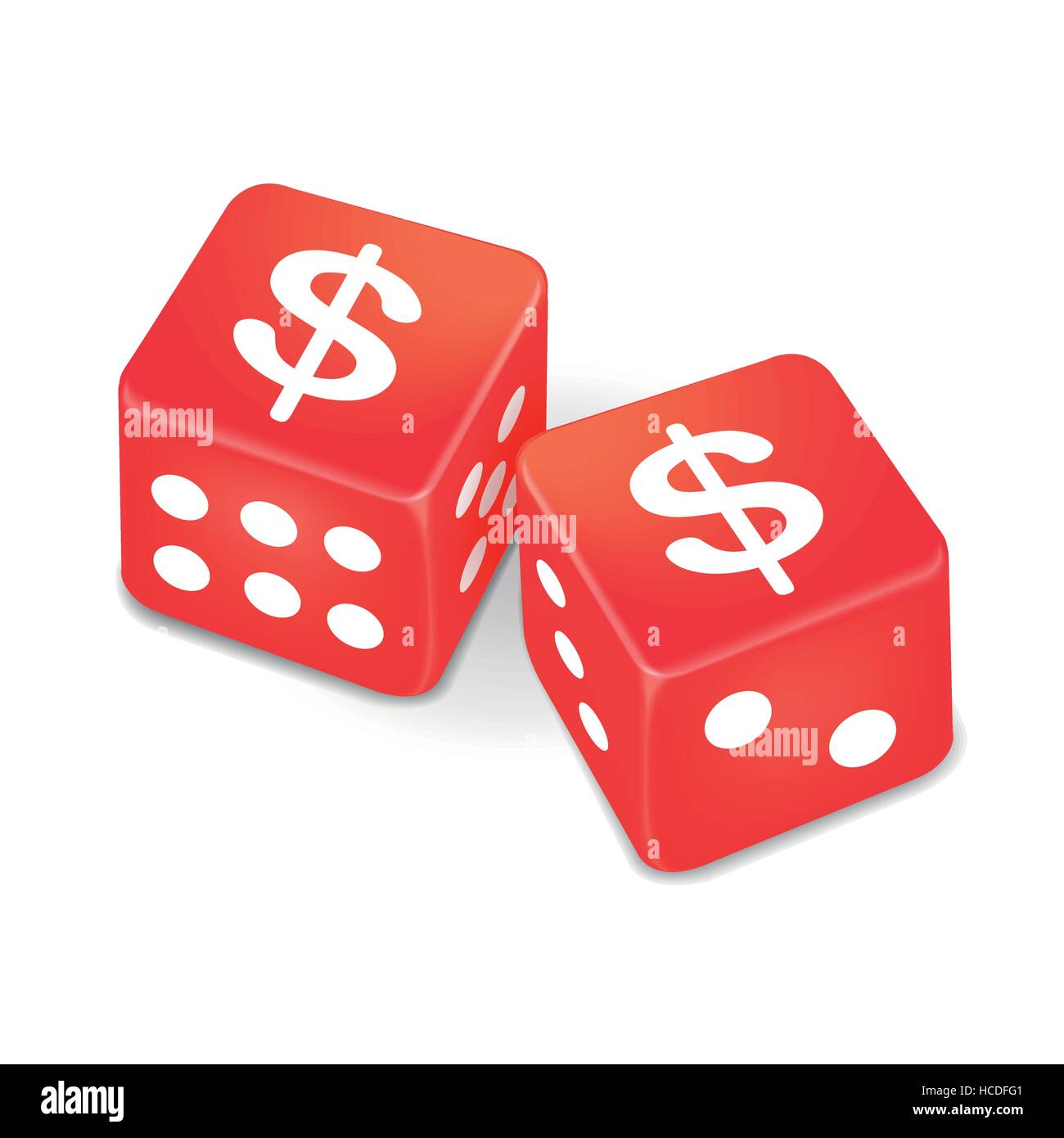 money signs on two red dice isolated on white background - Stock Image