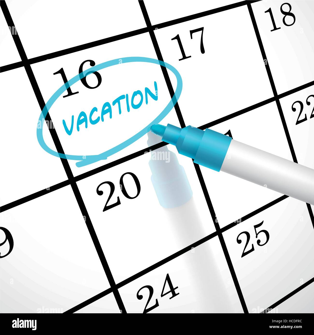 vacation word circle marked on a calendar by a blue pen stock vector
