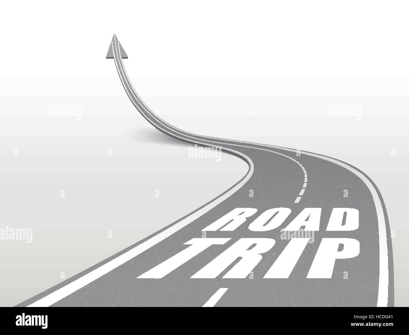 road trip words on highway road going up as an arrow stock vector