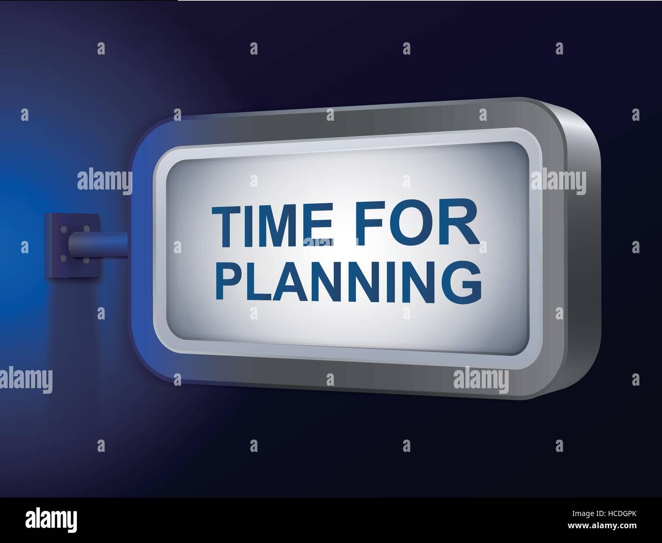 time for planning words on billboard over blue background - Stock Vector