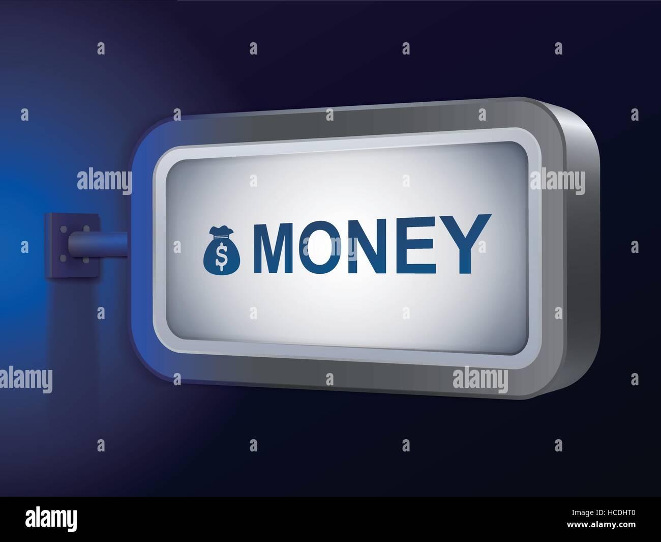 money word on billboard over blue background - Stock Image