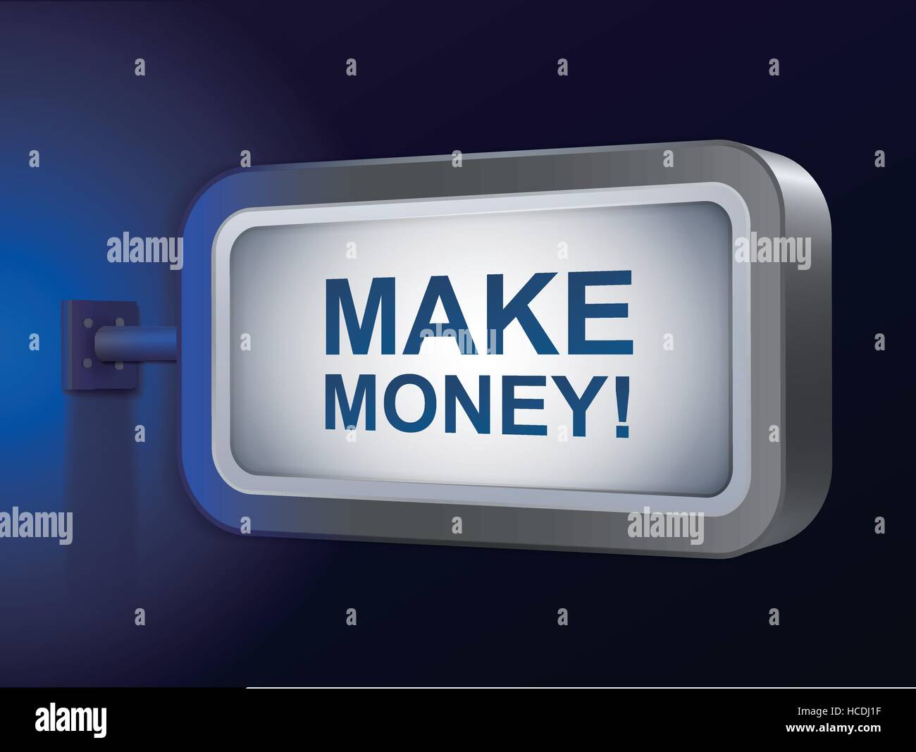 make money words on billboard over blue background - Stock Image