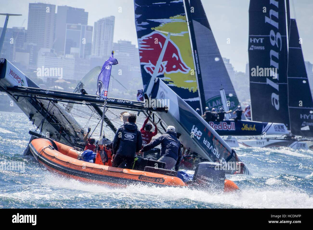 Sydney, Australia. 08th Dec, 2016. Rescue vessels arrive after Land Rover BAR Academy (GBR), skippered by Neil Hunter - Stock Image