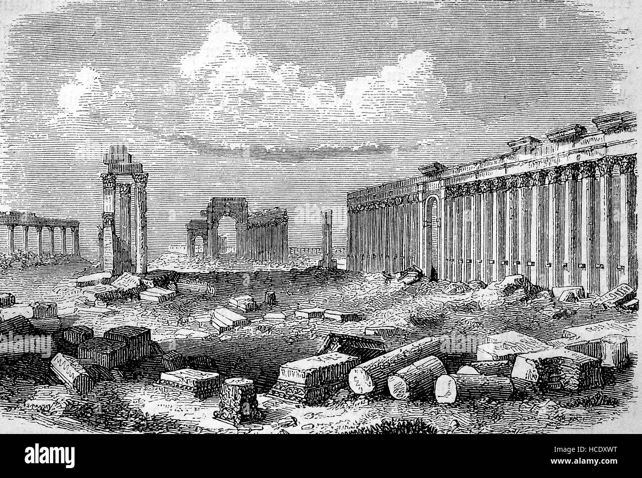 the ruins of Palmyra, Syria, 300 AD, the story of the ancient Rome, roman Empire, Italy - Stock Image