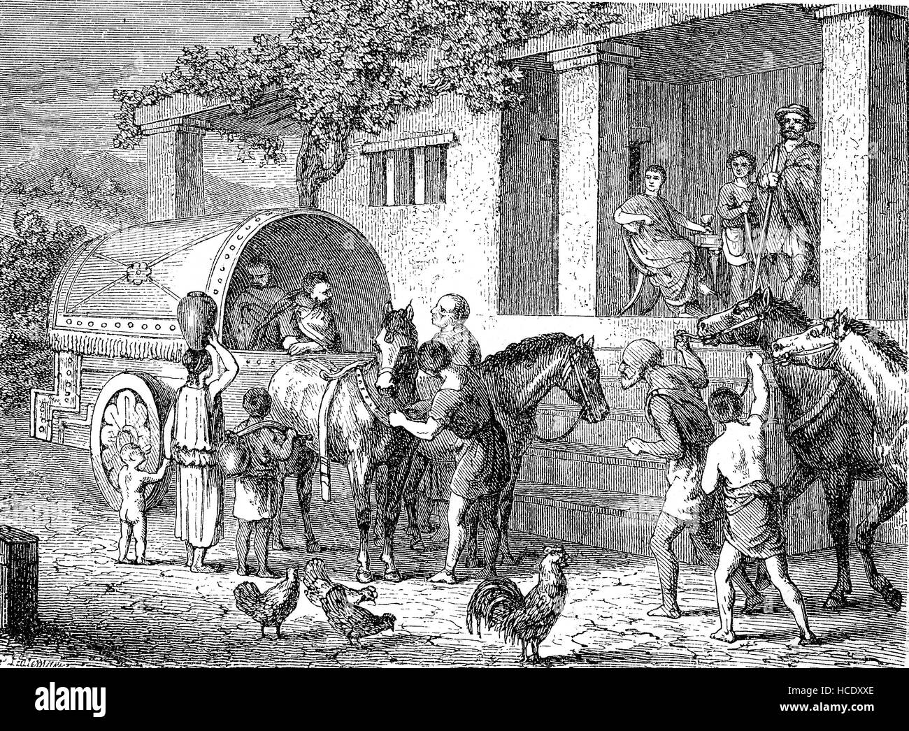 Roman postal coach, 400 AD, the story of the ancient Rome, roman Empire, Italy - Stock Image