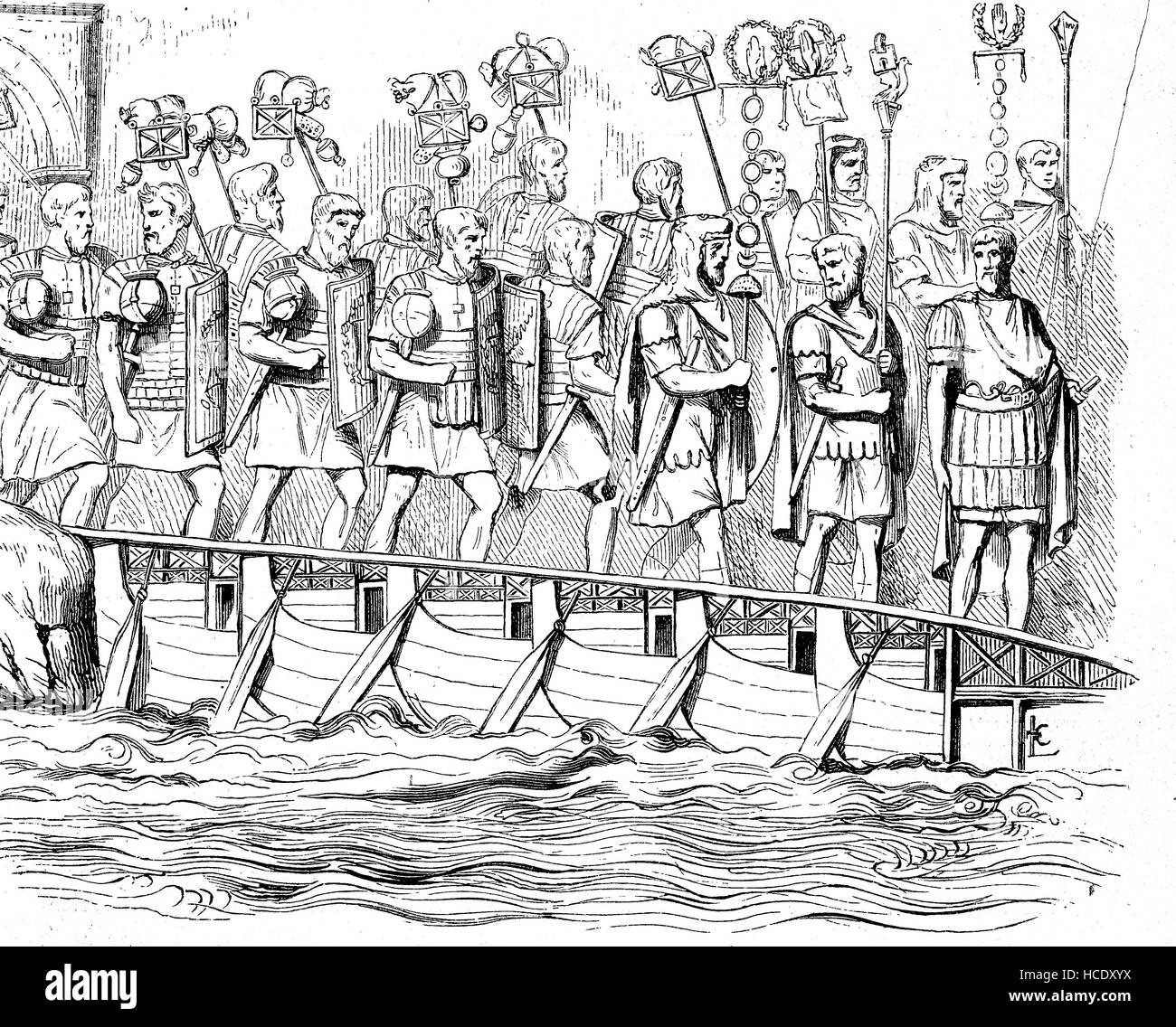 River crossing of a Roman legion, the story of the ancient Rome, roman Empire, Italy - Stock Image