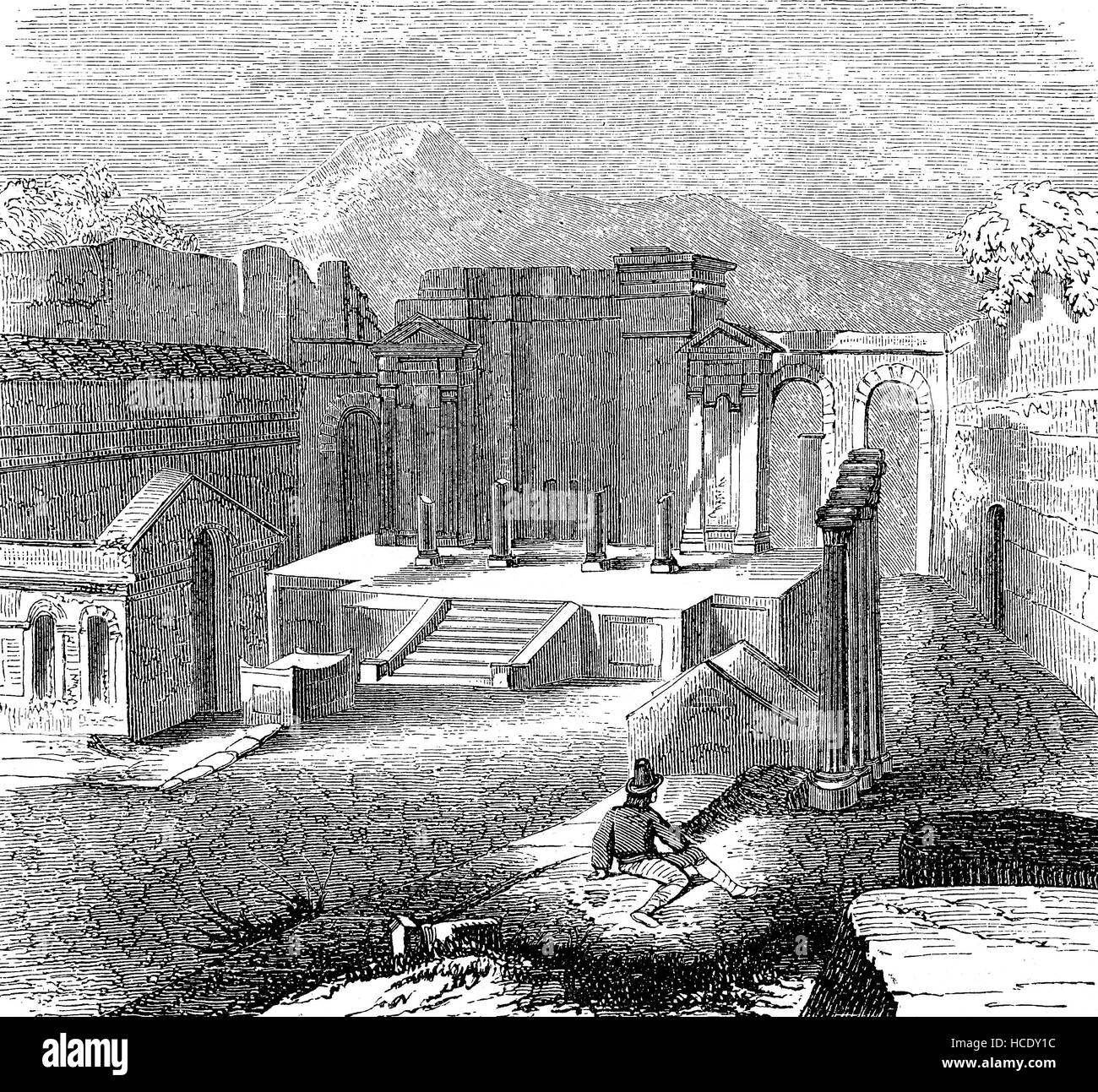 the remains of the temple of Isis at Pompeji, Pompey, Italy, the story of the ancient Rome, roman Empire - Stock Image