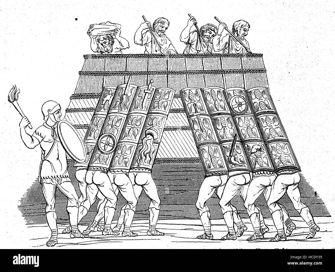 Roman soldiers attack the Wall of the Teutons, 11 BC, the story of the ancient Rome, roman Empire, Italy - Stock Image
