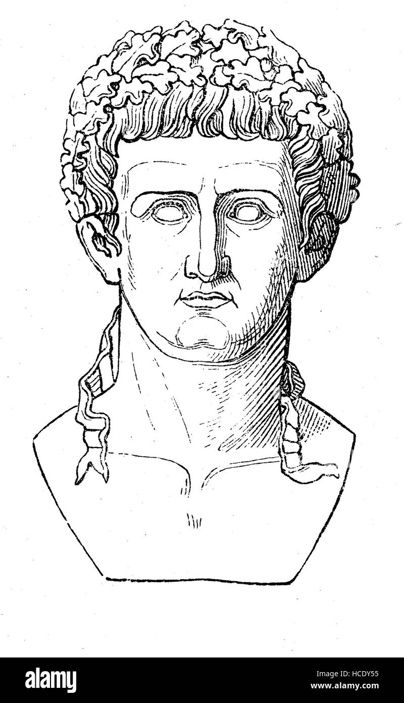 Tiberius, 42 BC - 37 AD was a Roman Emperor from 14 AD to 37 AD, Born Tiberius Claudius Nero,, the story of the - Stock Image