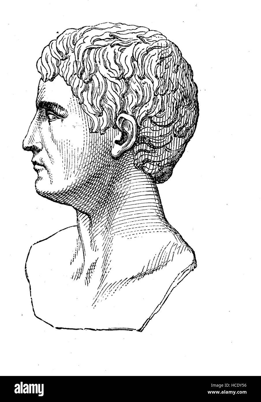 Caligula, Gaius Julius Caesar Augustus Germanicus, AD 12 - AD 41, Roman emperor, the story of the ancient Rome, - Stock Image