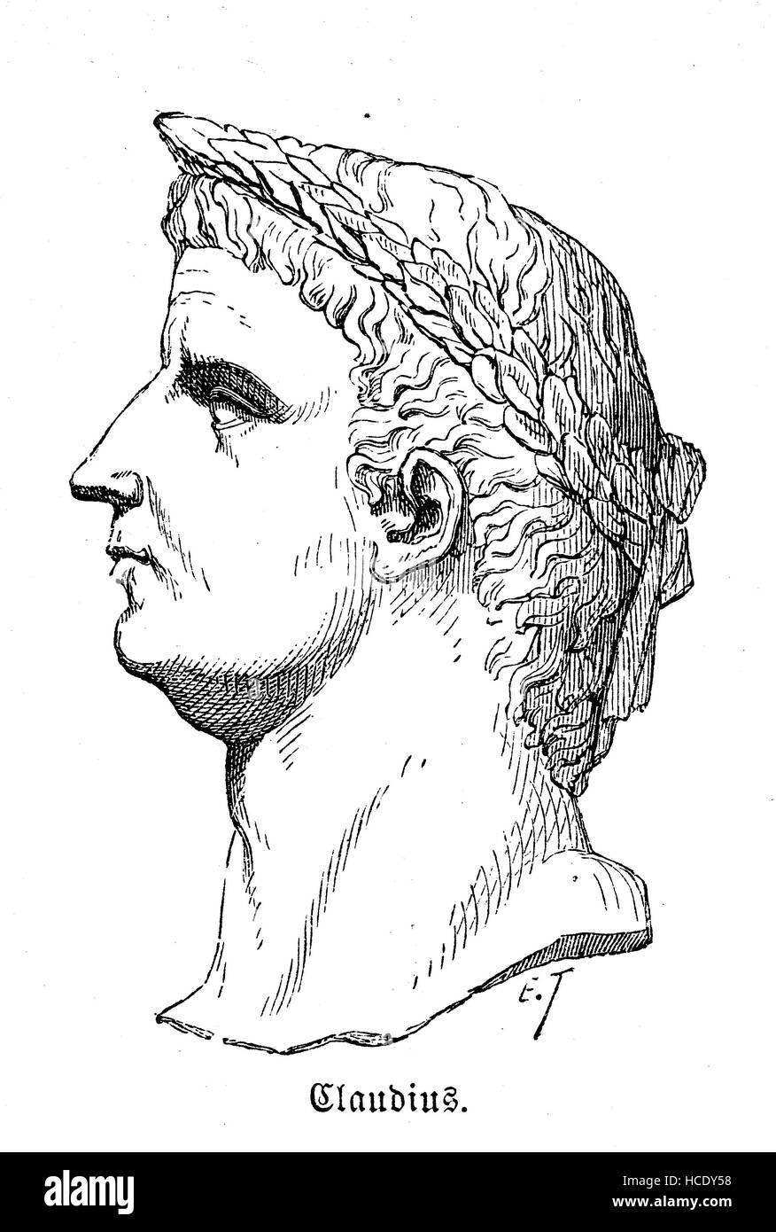 Claudius, Tiberius Claudius Caesar Augustus Germanicus, 10 BC - 54 AD, Roman emperor, the story of the ancient Rome, - Stock Image