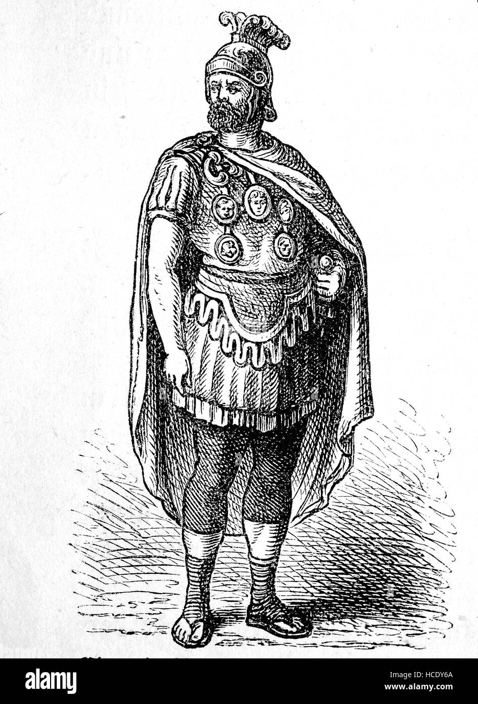 A Roman leader of the troop decorated with distinctions, the story of the ancient Rome, roman Empire, Italy - Stock Image