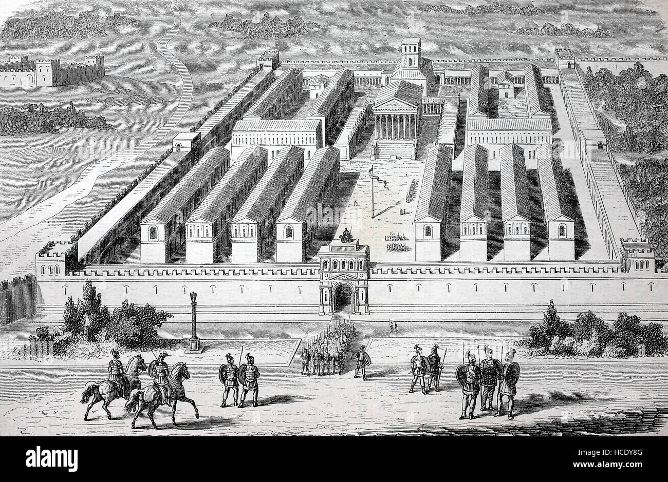 Barracks of the Pretorians, The Praetorian Guard was a force of bodyguards used by Roman Emperors, the story of Stock Photo