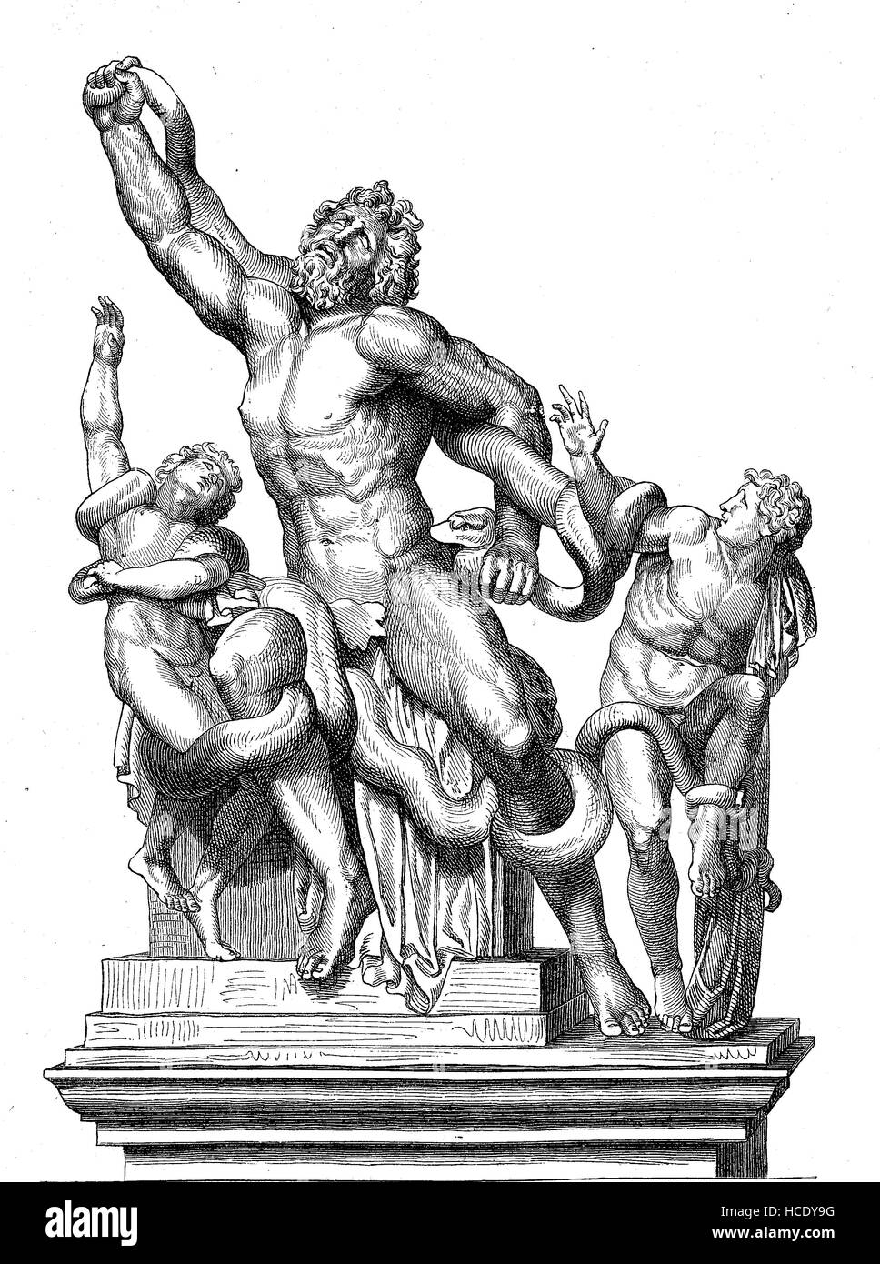 Laocoön, Laocooen, and His Sons, a person from the Greek and Roman mythology, the story of the ancient Rome, - Stock Image