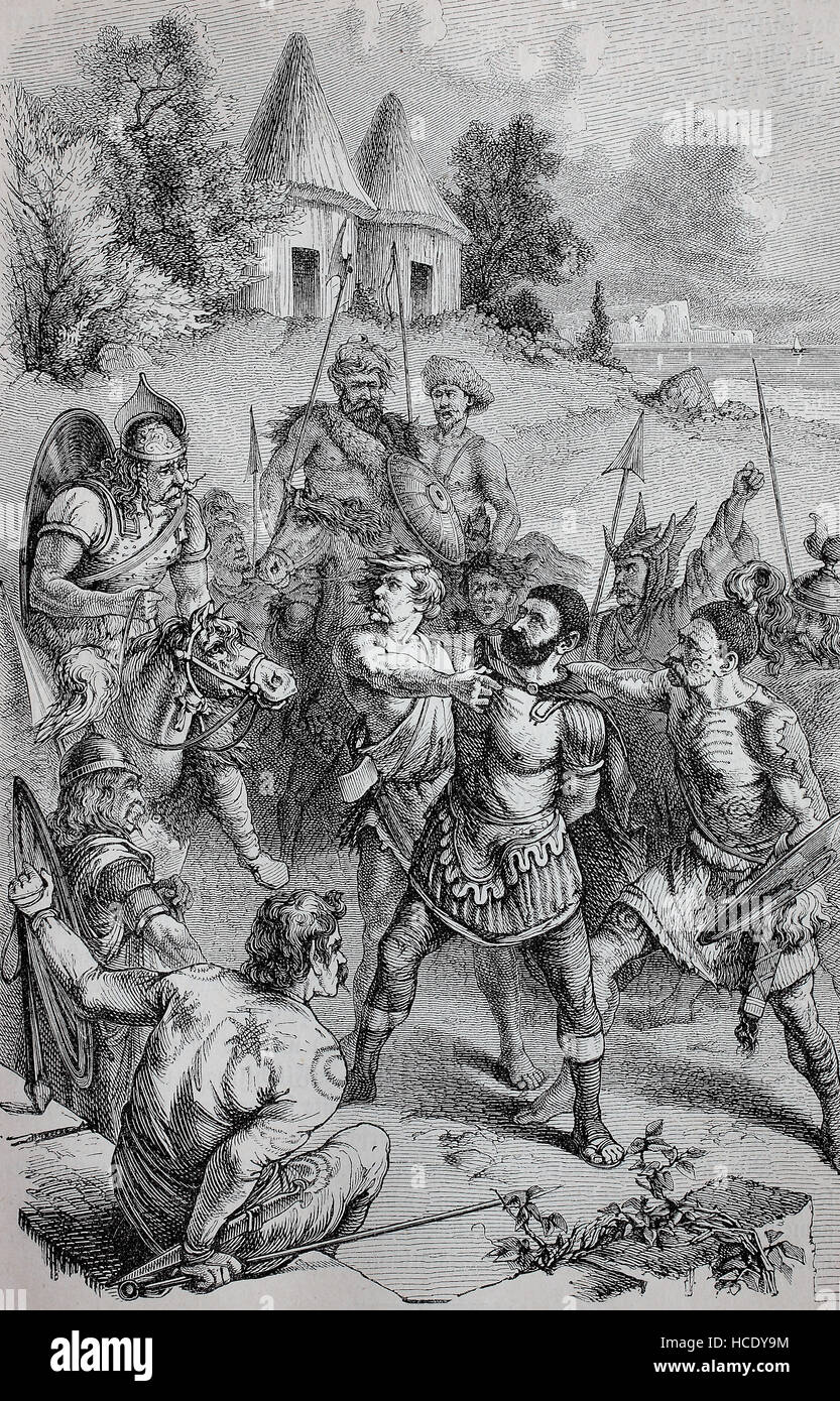 Chiefs from Britain have captured a Roman centurion, the story of the ancient Rome, roman Empire, Italy - Stock Image