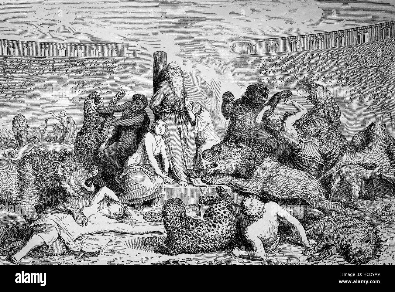 Persecution of Christians, Anti-Christian policies in the Roman Empire, christs as victims of predators in the circus - Stock Image