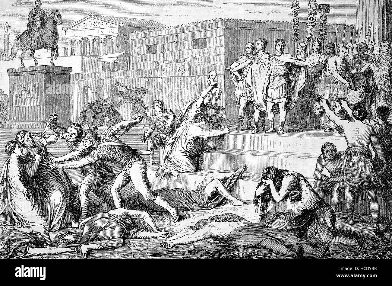 The proscription of 43 B.C of the Triumvirn, the story of the ancient Rome, roman Empire, Italy - Stock Image