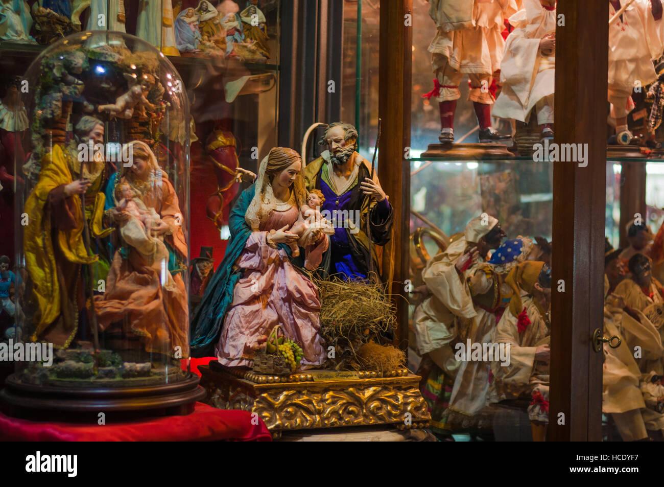 Naples, San Gregorio Armeno, hand made nativity scene for sale - Stock Image